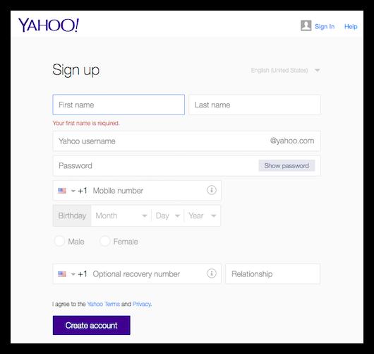 米Yahoo!のアカウント作成