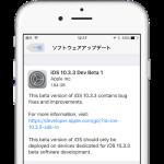 Apple、iOS 10.3.3 beta 1を開発者向けリリース。