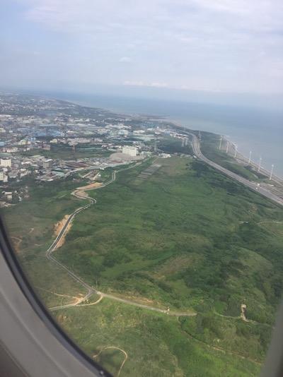 機内から台湾